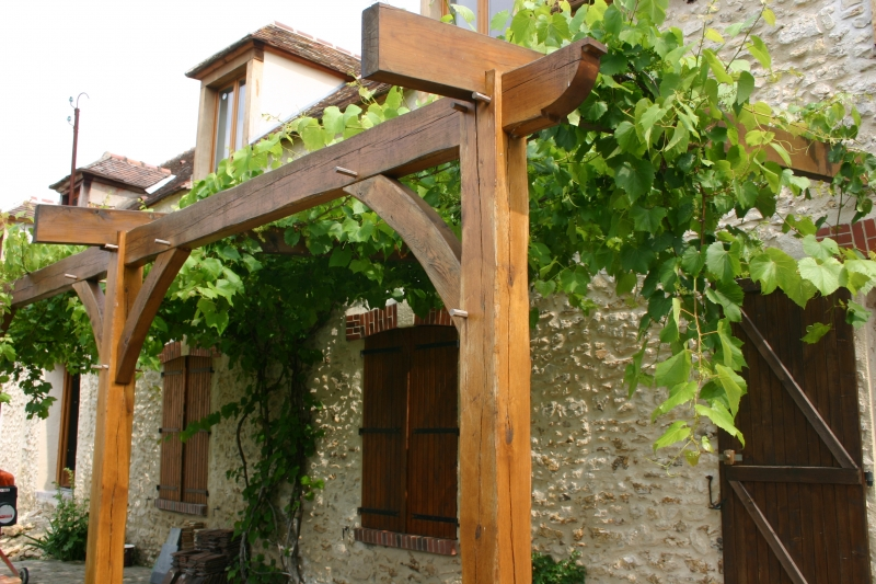 Cl ture bois abri bois pergolas for Photo pergola bois